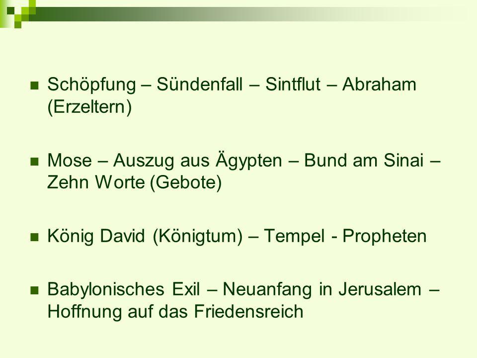 Schöpfung – Sündenfall – Sintflut – Abraham (Erzeltern) Mose – Auszug aus Ägypten – Bund am Sinai – Zehn Worte (Gebote) König David (Königtum) – Tempe