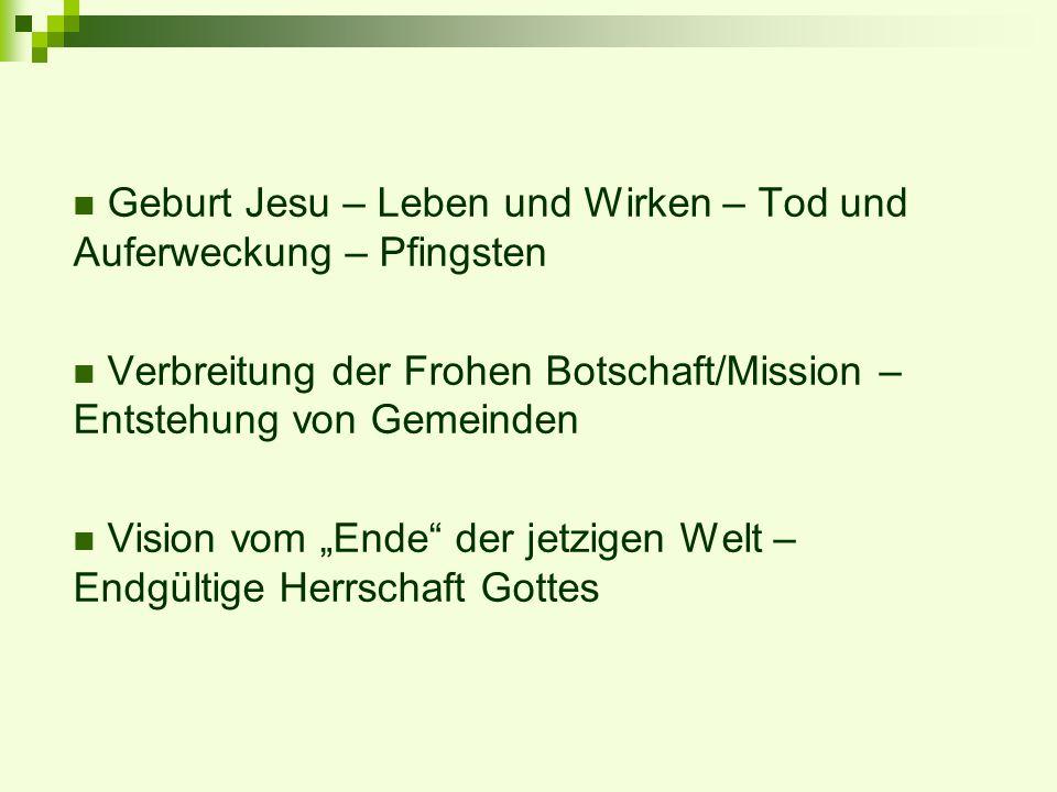 Geburt Jesu – Leben und Wirken – Tod und Auferweckung – Pfingsten Verbreitung der Frohen Botschaft/Mission – Entstehung von Gemeinden Vision vom Ende