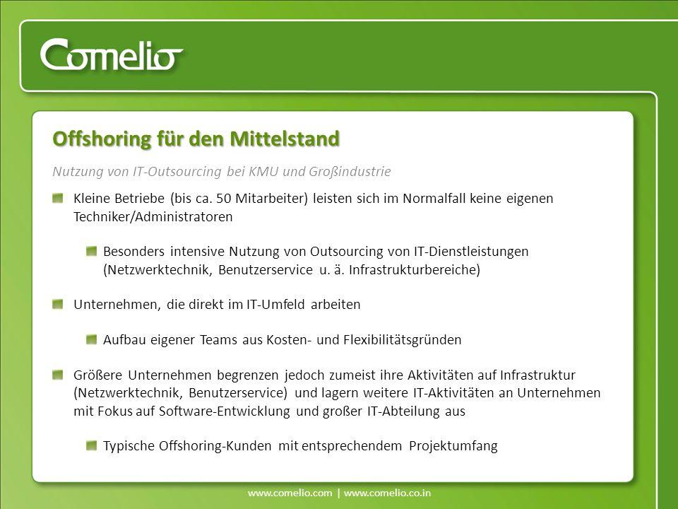 www.comelio.com | www.comelio.co.in Nutzung von IT-Outsourcing bei KMU und Großindustrie Offshoring für den Mittelstand Kleine Betriebe (bis ca. 50 Mi