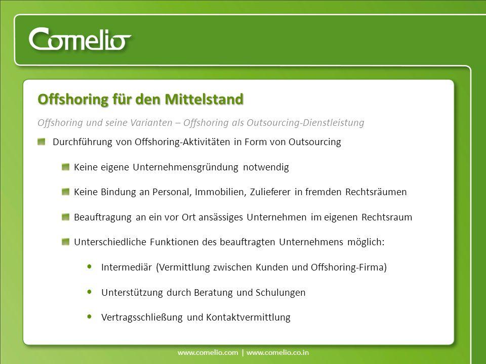 www.comelio.com | www.comelio.co.in Offshoring und seine Varianten – Offshoring als Outsourcing-Dienstleistung Offshoring für den Mittelstand Durchfüh