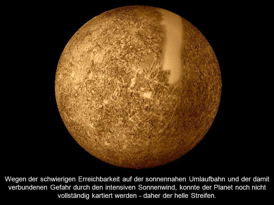 Der Merkur ist mit einem Durchmesser von knapp 4880 km der kleinste, mit einer durchschnittlichen Sonnenentfernung von etwa 58 Millionen km der sonnennächste und somit auch schnellste Planet im Sonnensystem.