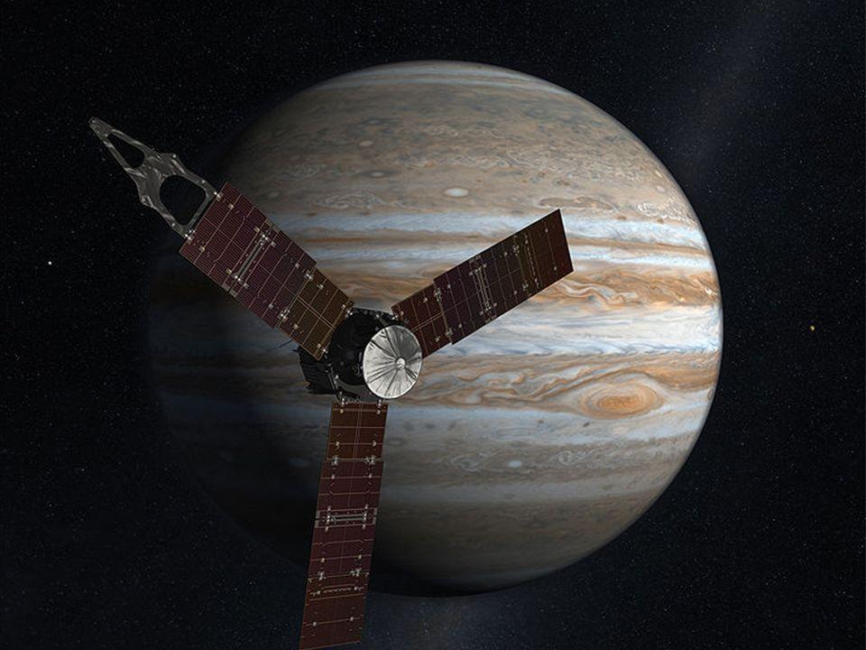 Der Große Rote Fleck umkreist als größter Wirbelsturm des Sonnensystems ständig den Jupiter.