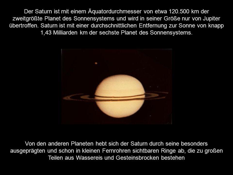 Vier Saturnmonde: Titan (hinten), Dione (vor Titan), Prometheus (Mitte, unter den Ringen) und Telesto (oben) mit Saturnringen im Mittelgrund; fotografiert von der Raumsonde Cassini