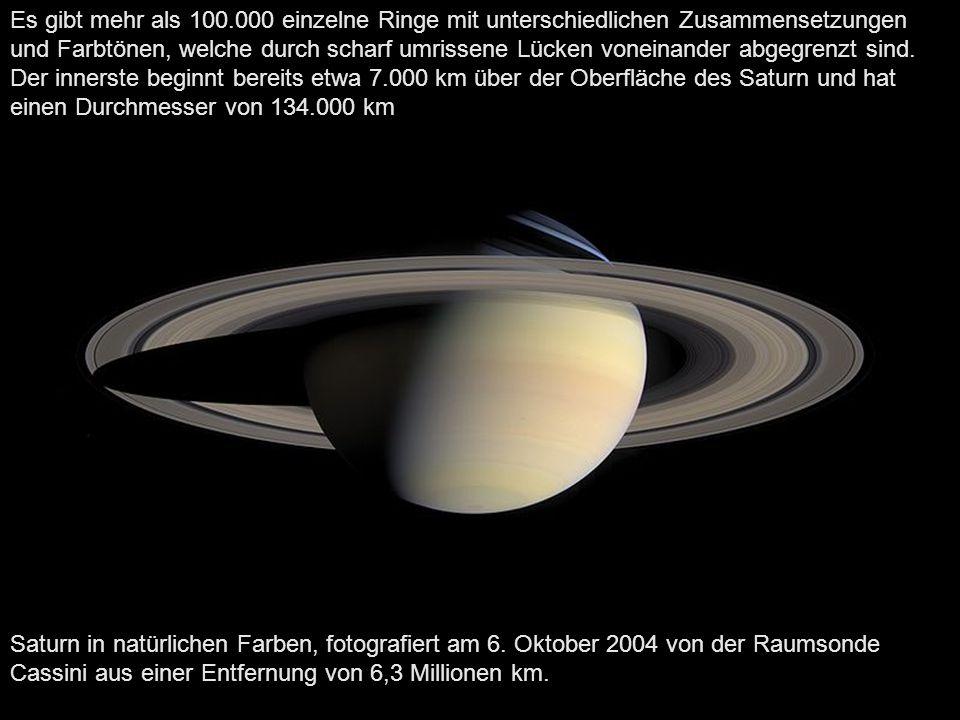 Speichenartige Strukturen, beobachtet von Voyager 2 Bis zum Jahresende 2009 wurden 62 Saturnmonde entdeckt, der größte davon ist Titan mit 5150 km Durchmesser.