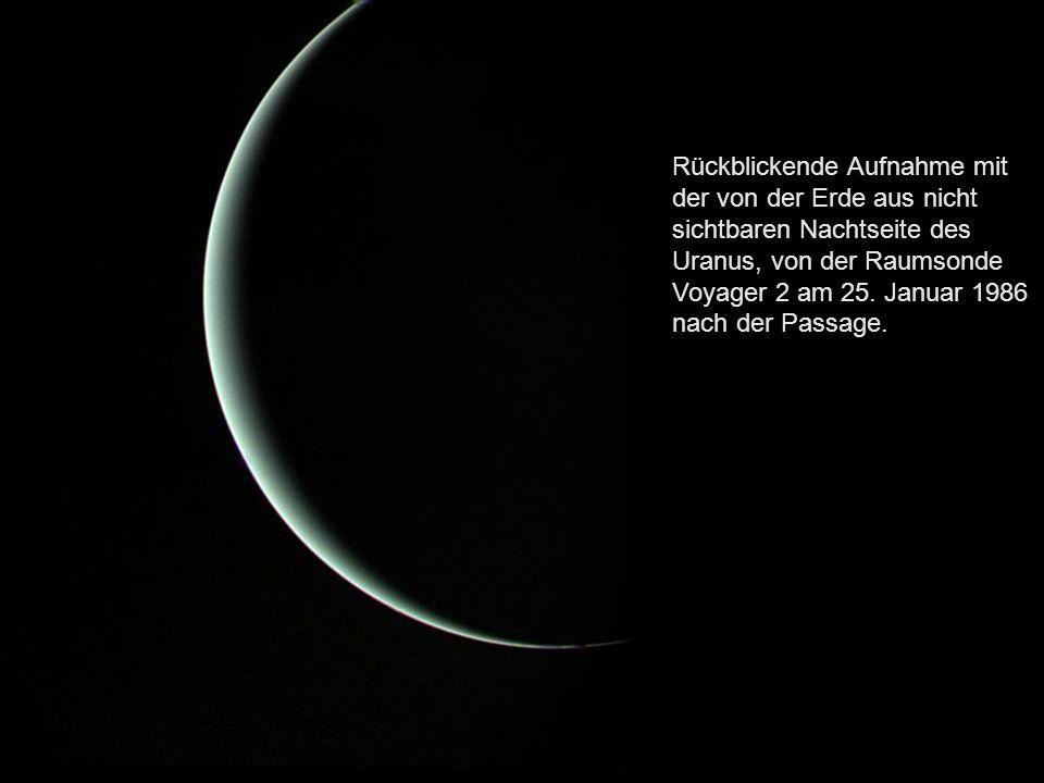 Uranus mit Wolken, Ringen und Monden im nahen Infrarot.