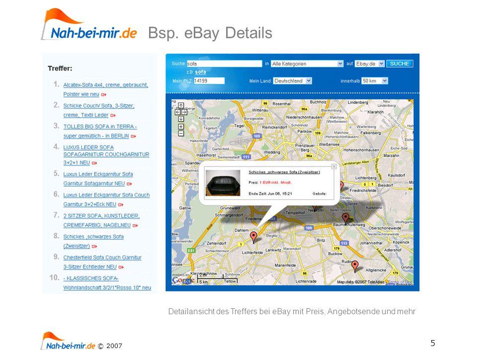 5 © 2007 Detailansicht des Treffers bei eBay mit Preis, Angebotsende und mehr Bsp. eBay Details