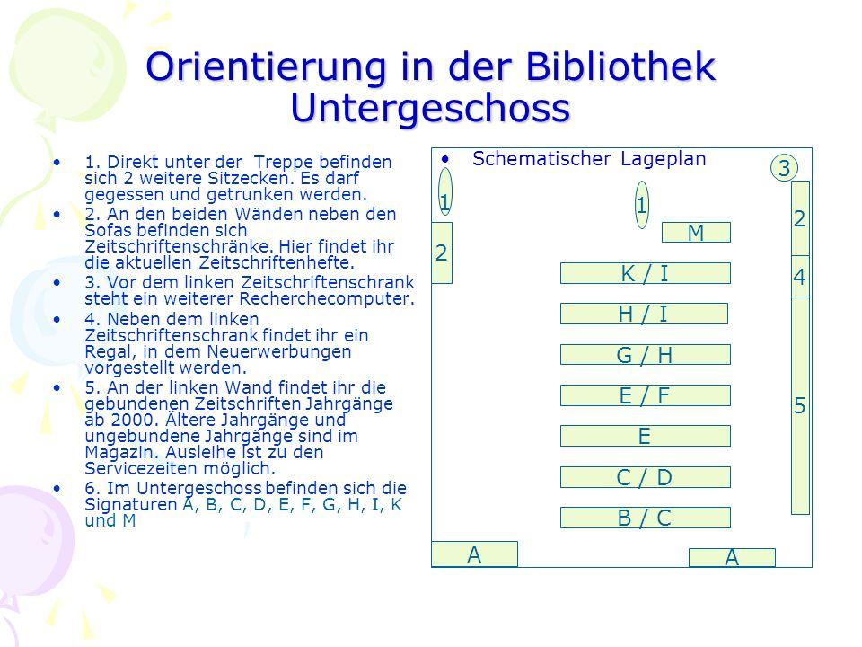 Orientierung in der Bibliothek Untergeschoss 1.