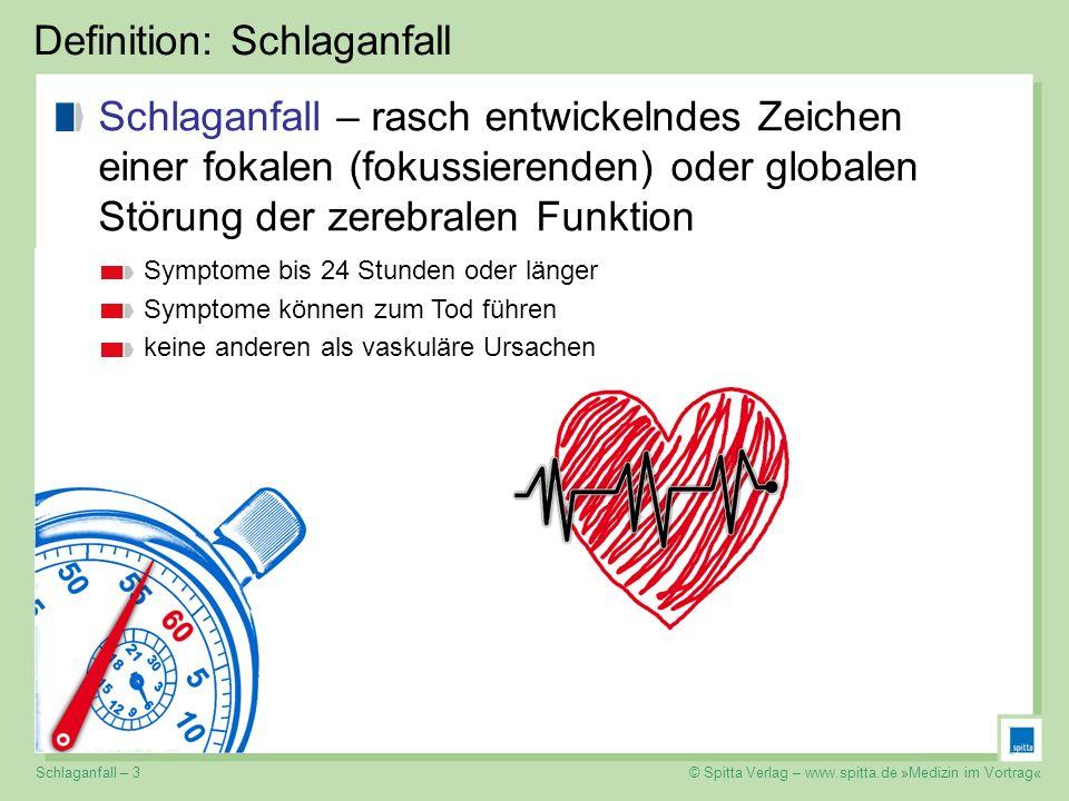 © Spitta Verlag – www.spitta.de »Medizin im Vortrag« Definition: Schlaganfall Schlaganfall – rasch entwickelndes Zeichen einer fokalen (fokussierenden