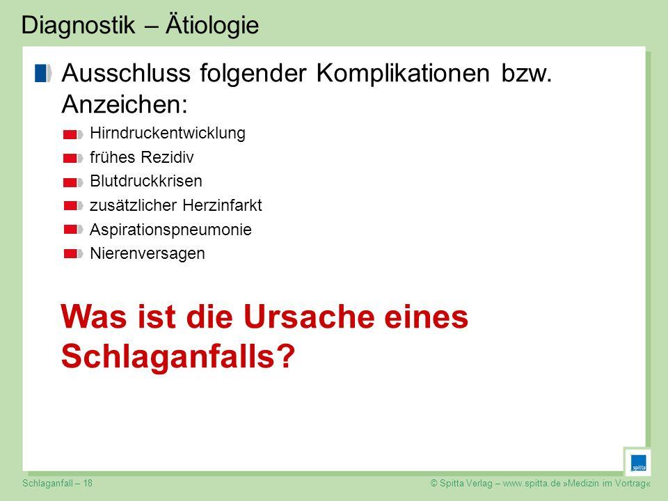 © Spitta Verlag – www.spitta.de »Medizin im Vortrag« Diagnostik – Ätiologie Ausschluss folgender Komplikationen bzw. Anzeichen: Hirndruckentwicklung f