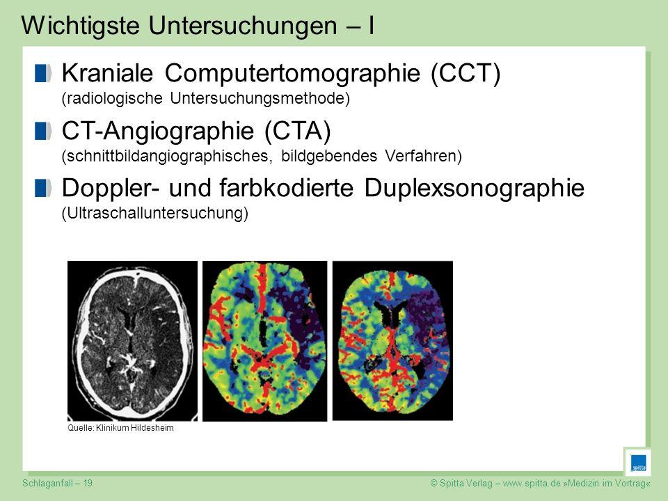 © Spitta Verlag – www.spitta.de »Medizin im Vortrag« Wichtigste Untersuchungen – I Kraniale Computertomographie (CCT) (radiologische Untersuchungsmeth