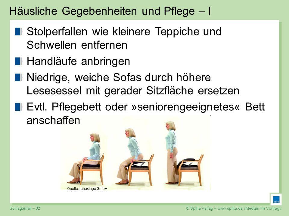 © Spitta Verlag – www.spitta.de »Medizin im Vortrag« Häusliche Gegebenheiten und Pflege – I Stolperfallen wie kleinere Teppiche und Schwellen entferne