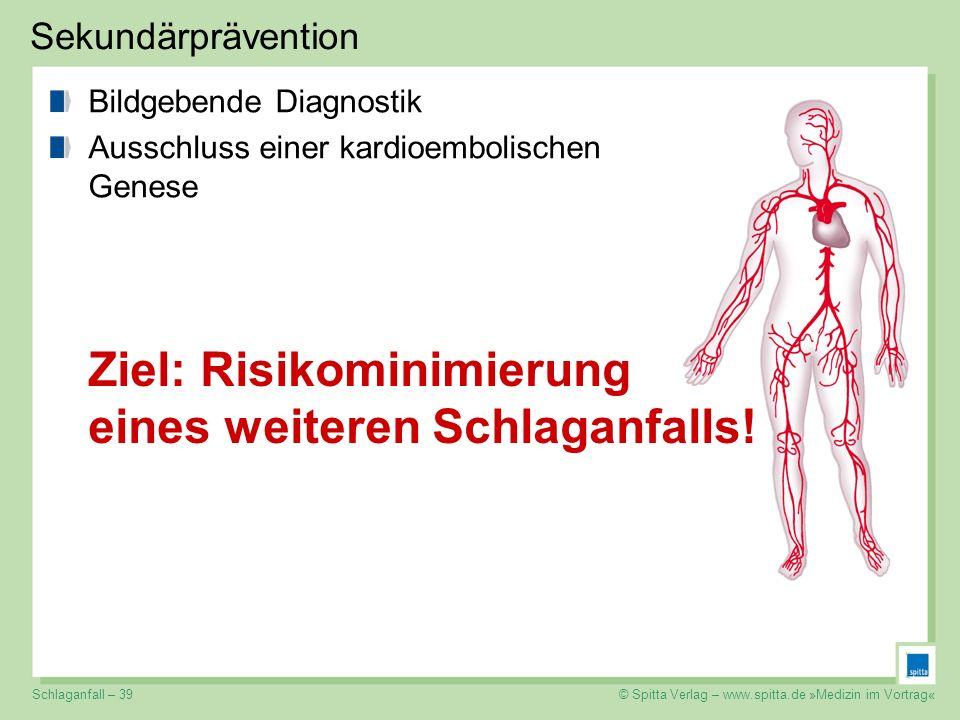 © Spitta Verlag – www.spitta.de »Medizin im Vortrag« Sekundärprävention Ziel: Risikominimierung eines weiteren Schlaganfalls! Bildgebende Diagnostik A