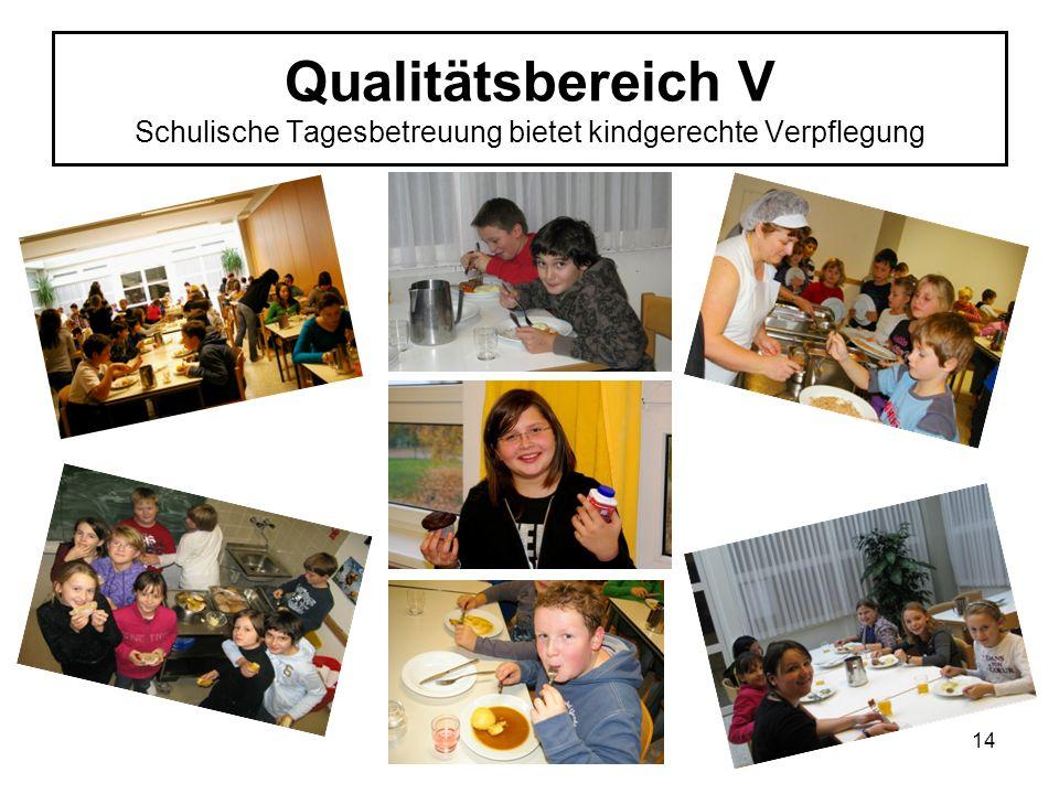 Qualitätsbereich V Schulische Tagesbetreuung bietet kindgerechte Verpflegung 14