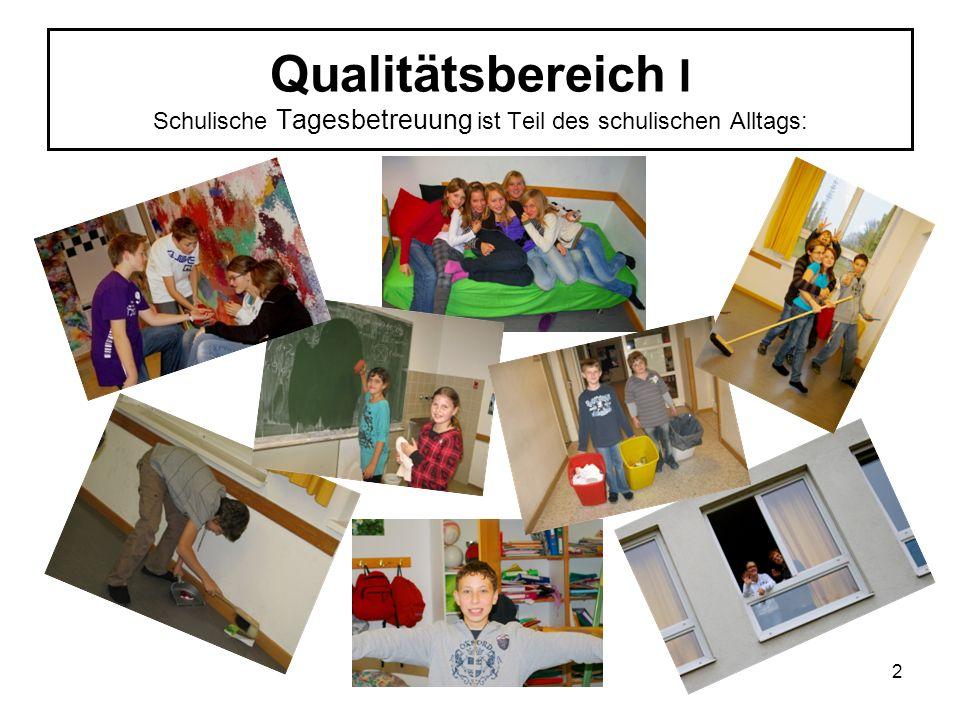 Qualitätsbereich I Schulische Tagesbetreuung ist Teil des schulischen Alltags: 2