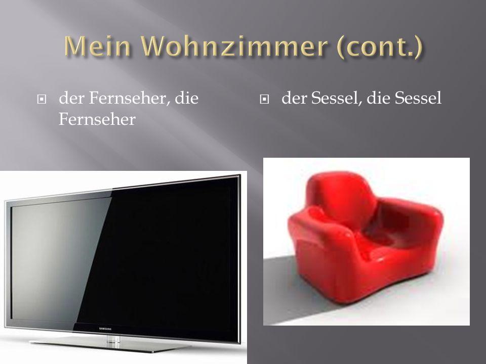 der Fernseher, die Fernseher der Sessel, die Sessel