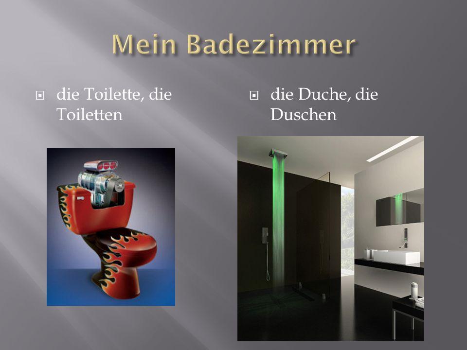 die Toilette, die Toiletten die Duche, die Duschen