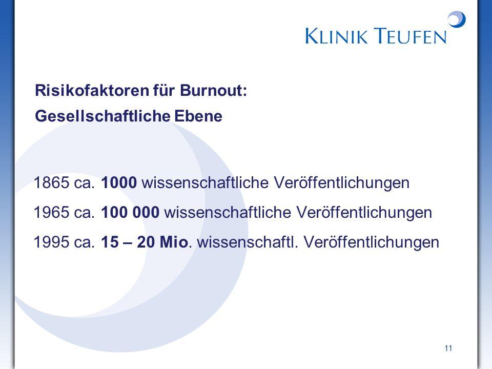 11 Risikofaktoren für Burnout: Gesellschaftliche Ebene 1865 ca. 1000 wissenschaftliche Veröffentlichungen 1965 ca. 100 000 wissenschaftliche Veröffent