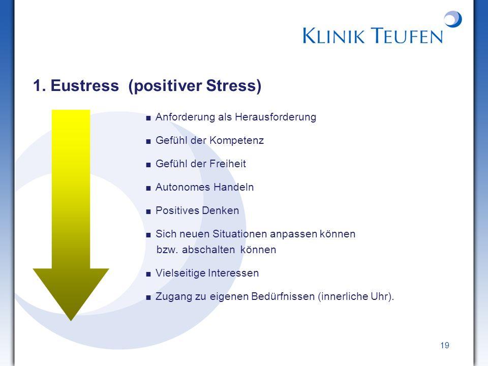 19 1. Eustress (positiver Stress) Anforderung als Herausforderung Gefühl der Kompetenz Gefühl der Freiheit Autonomes Handeln Positives Denken Sich neu