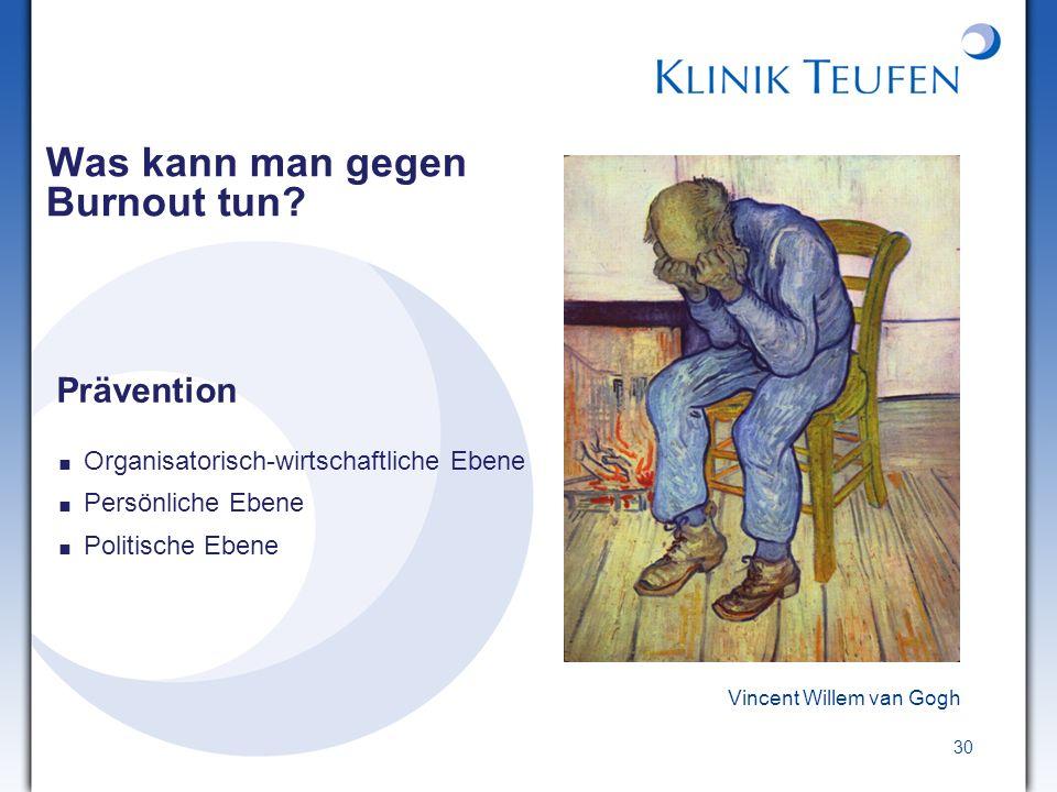 30 Vincent Willem van Gogh Was kann man gegen Burnout tun? Prävention Organisatorisch-wirtschaftliche Ebene Persönliche Ebene Politische Ebene