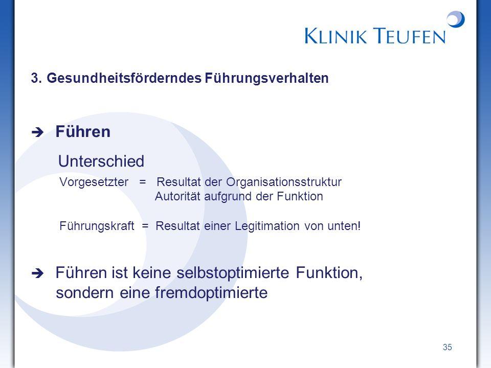 3. Gesundheitsförderndes Führungsverhalten Führen Unterschied Vorgesetzter = Resultat der Organisationsstruktur Autorität aufgrund der Funktion Führun