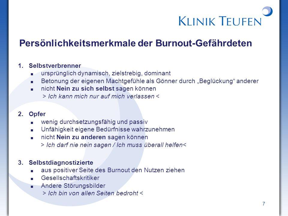 18 Die Burnout-Entwicklung 1.Eustress (positiver Stress) 2.Distress: Burnout-Warnsymptomatik 3.Burnout – reduziertes Engagement 4.Desillusionierung – Sinnlosigkeit 5.Wahrnehmung der eigenen Unfähigkeit