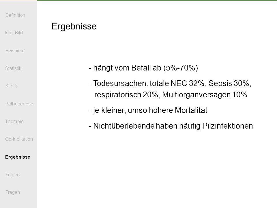 Ergebnisse - hängt vom Befall ab (5%-70%) - Todesursachen: totale NEC 32%, Sepsis 30%, respiratorisch 20%, Multiorganversagen 10% - je kleiner, umso h