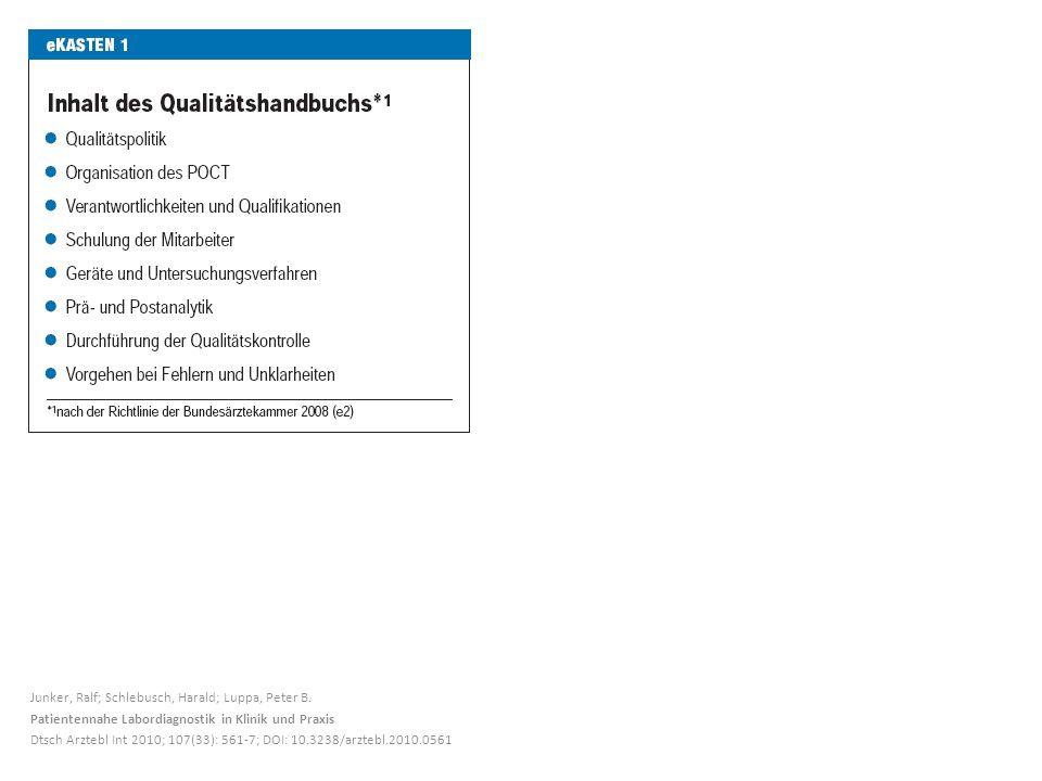 Junker, Ralf; Schlebusch, Harald; Luppa, Peter B. Patientennahe Labordiagnostik in Klinik und Praxis Dtsch Arztebl Int 2010; 107(33): 561-7; DOI: 10.3