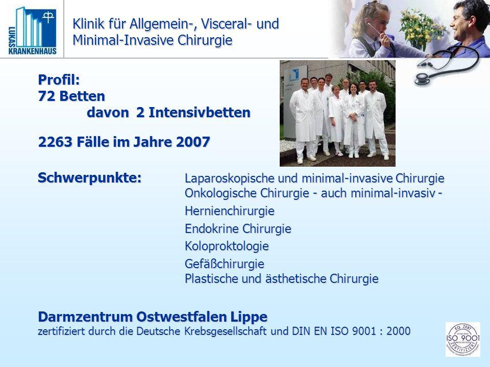 Profil: 72 Betten davon2 Intensivbetten 2263 Fälle im Jahre 2007 Schwerpunkte: Laparoskopische und minimal-invasive Chirurgie Onkologische Chirurgie -