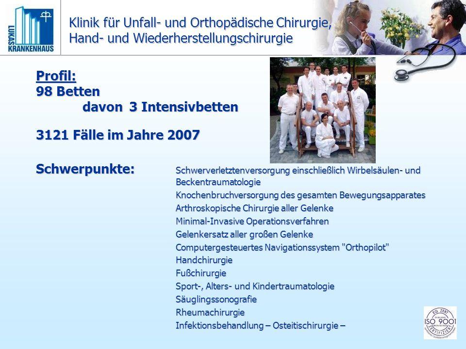 Profil: 98 Betten davon3 Intensivbetten 3121 Fälle im Jahre 2007 Schwerpunkte: Schwerverletztenversorgung einschließlich Wirbelsäulen- und Beckentraum