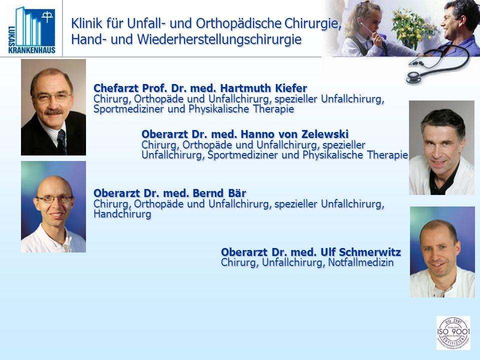 Chefarzt Prof. Dr. med. Hartmuth Kiefer Chirurg, Orthopäde und Unfallchirurg, spezieller Unfallchirurg, Sportmediziner und Physikalische Therapie Ober