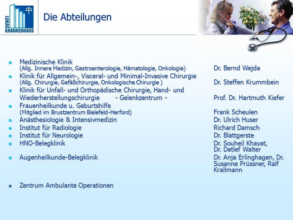 Die Abteilungen Medizinische Klinik (Allg. Innere Medizin, Gastroenterologie, Hämatologie, Onkologie) Dr. Bernd Wejda Medizinische Klinik (Allg. Inner