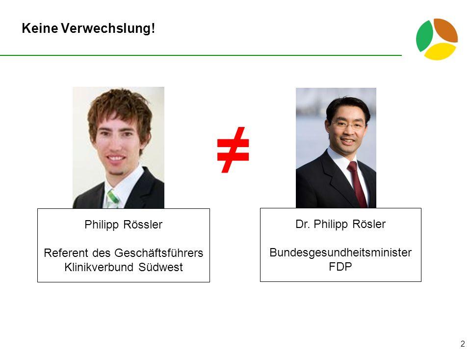 Keine Verwechslung.2 Philipp Rössler Referent des Geschäftsführers Klinikverbund Südwest Dr.