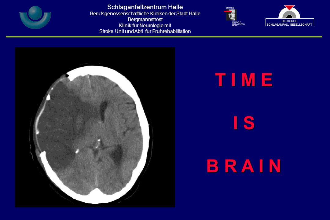 T I M E I S B R A I N Schlaganfallzentrum Halle Berufsgenossenschaftliche Kliniken der Stadt Halle Bergmannstrost Klinik für Neurologie mit Stroke Unit und Abtl.