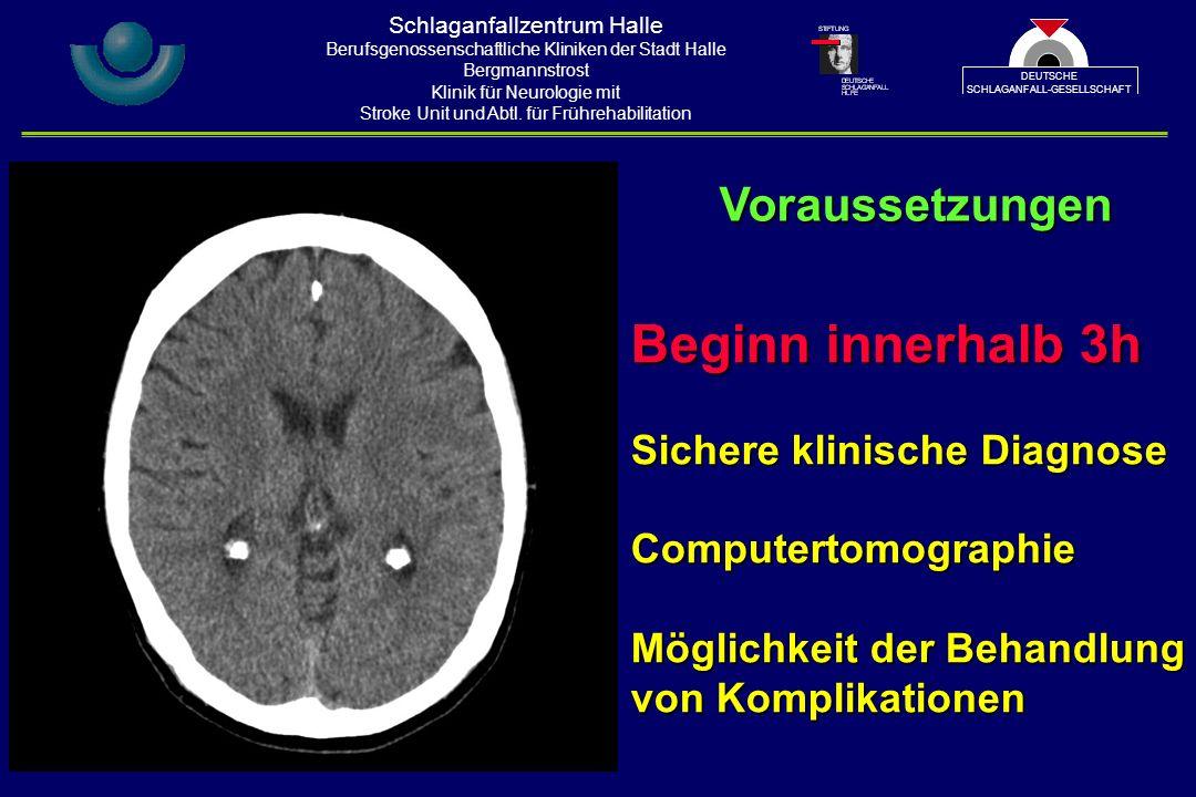 Beginn innerhalb 3h Sichere klinische Diagnose Computertomographie Möglichkeit der Behandlung von Komplikationen Voraussetzungen Schlaganfallzentrum Halle Berufsgenossenschaftliche Kliniken der Stadt Halle Bergmannstrost Klinik für Neurologie mit Stroke Unit und Abtl.