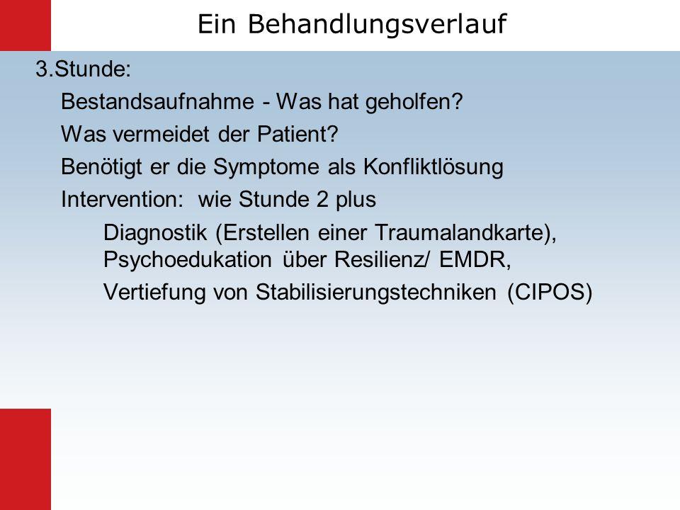 3.Stunde: Bestandsaufnahme - Was hat geholfen? Was vermeidet der Patient? Benötigt er die Symptome als Konfliktlösung Intervention: wie Stunde 2 plus