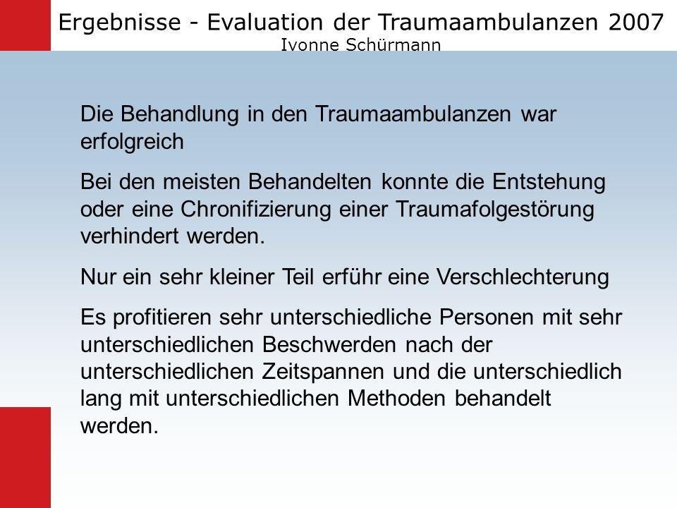 Ergebnisse - Evaluation der Traumaambulanzen 2007 Ivonne Schürmann Die Behandlung in den Traumaambulanzen war erfolgreich Bei den meisten Behandelten