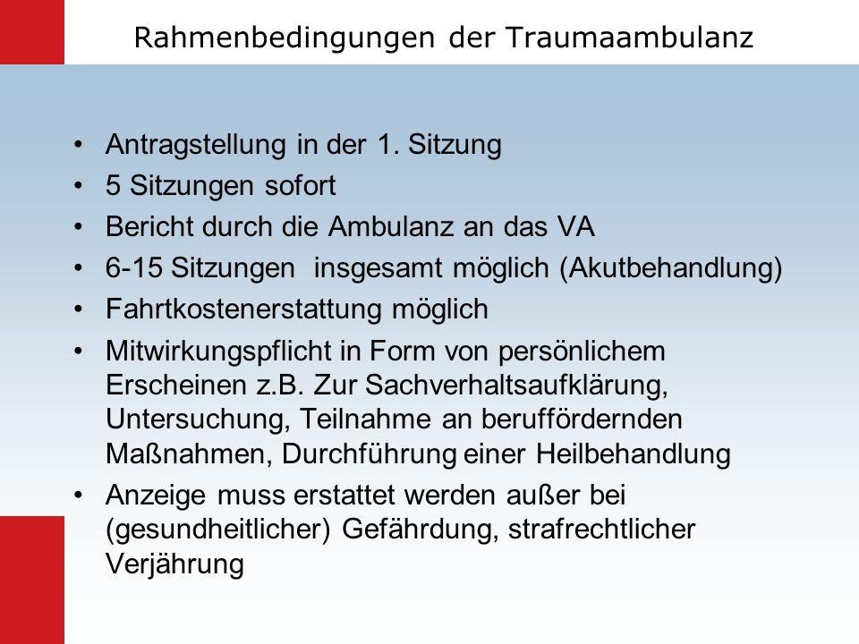 Rahmenbedingungen der Traumaambulanz Antragstellung in der 1. Sitzung 5 Sitzungen sofort Bericht durch die Ambulanz an das VA 6-15 Sitzungen insgesamt