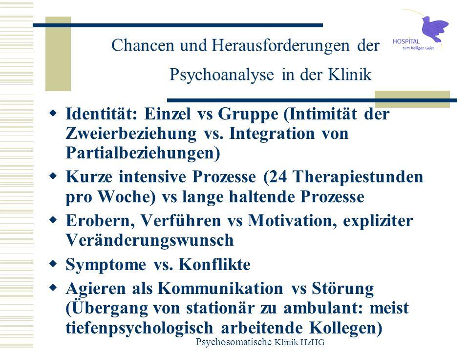 Psychosomatische Klinik HzHG Chancen und Herausforderungen der Psychoanalyse in der Klinik Identität: Einzel vs Gruppe (Intimität der Zweierbeziehung