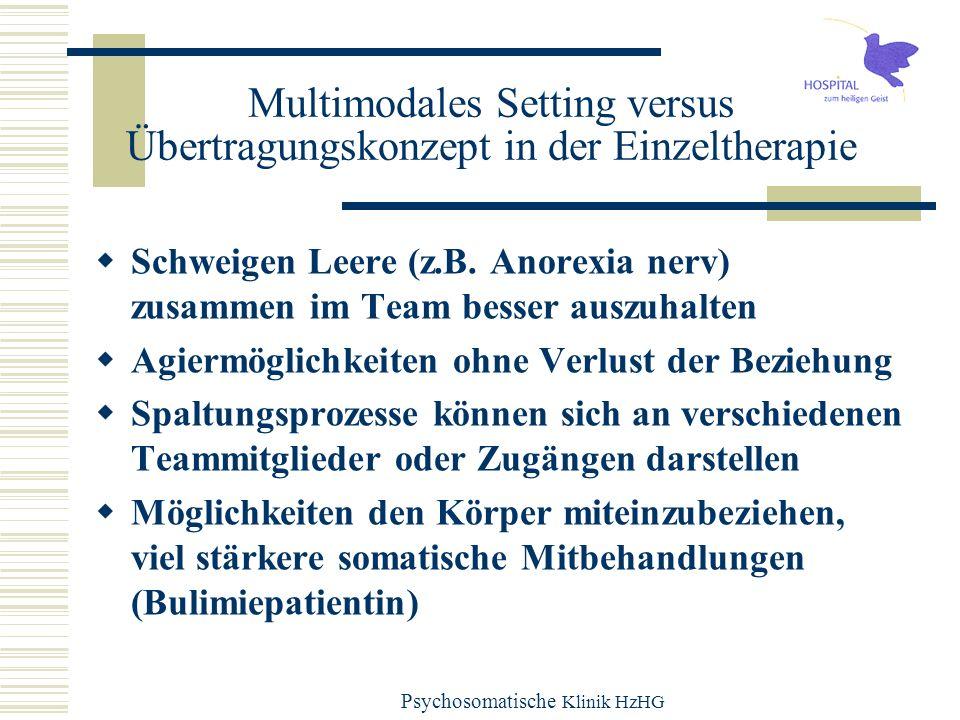 Psychosomatische Klinik HzHG Multimodales Setting versus Übertragungskonzept in der Einzeltherapie Schweigen Leere (z.B. Anorexia nerv) zusammen im Te