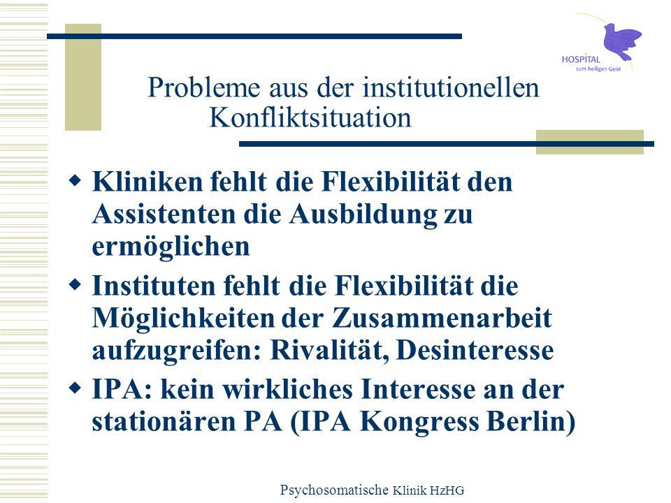 Psychosomatische Klinik HzHG Probleme aus der institutionellen Konfliktsituation Kliniken fehlt die Flexibilität den Assistenten die Ausbildung zu erm