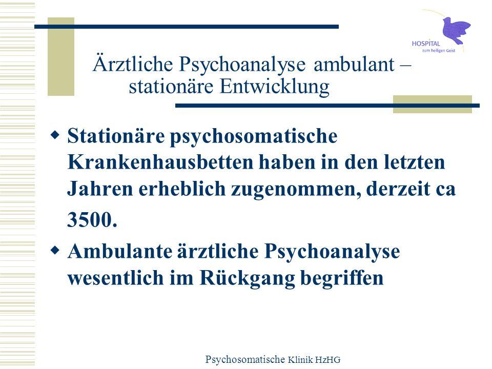 Psychosomatische Klinik HzHG Mögliche Entwicklungen Kooperationen zwischen Instituten und Kliniken Gegenseitige Anerkennungen (Facharzt und Zusatztitel Psychoanalyse) Wertschätzung Interesse Deutsche Besonderheit der Entwicklung nach der Nazizeit.