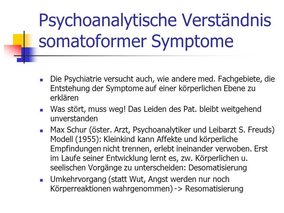 Psychoanalytische Verständnis somatoformer Symptome Die Psychiatrie versucht auch, wie andere med.