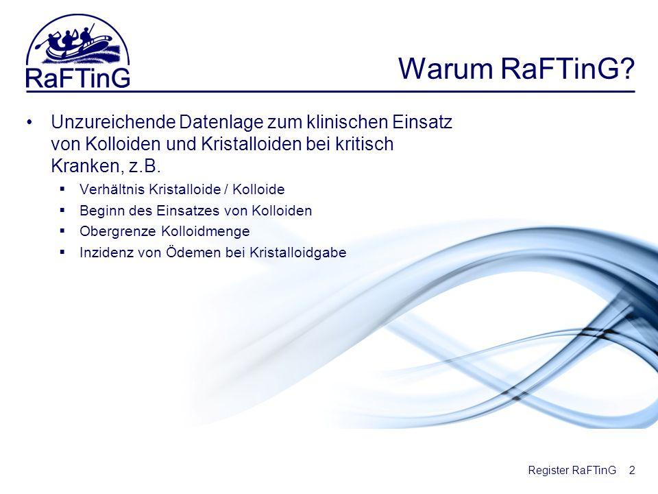 Register RaFTinG Warum RaFTinG? Unzureichende Datenlage zum klinischen Einsatz von Kolloiden und Kristalloiden bei kritisch Kranken, z.B. Verhältnis K