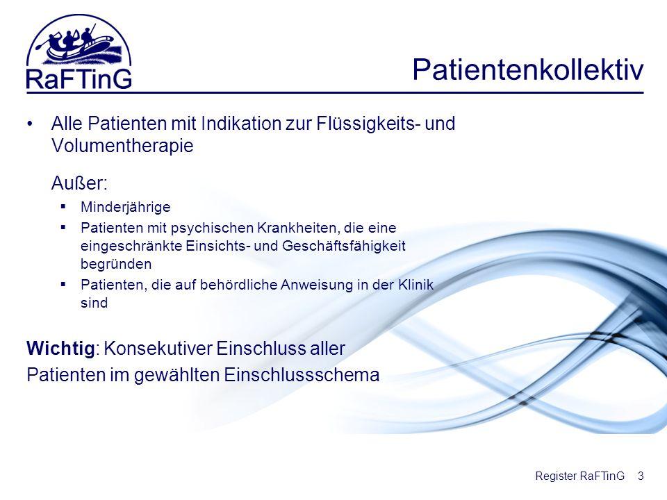 Register RaFTinG Patientenkollektiv Alle Patienten mit Indikation zur Flüssigkeits- und Volumentherapie Außer: Minderjährige Patienten mit psychischen