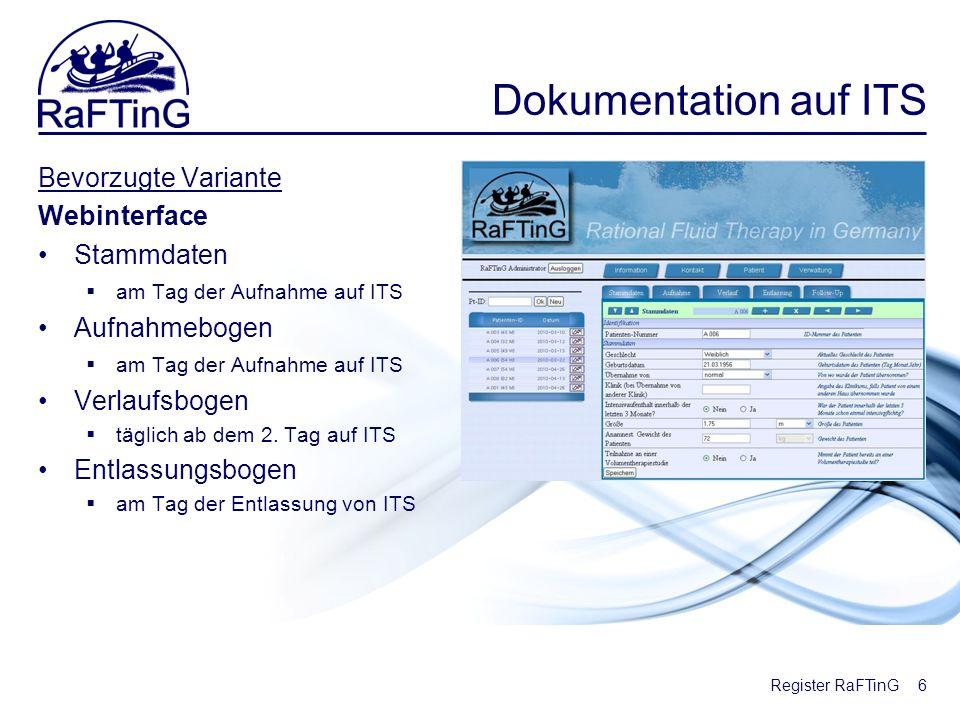 Register RaFTinG Dokumentation auf ITS Bevorzugte Variante Webinterface Stammdaten am Tag der Aufnahme auf ITS Aufnahmebogen am Tag der Aufnahme auf I