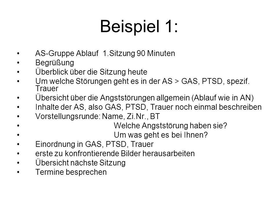 Beispiel 1: AS-Gruppe Ablauf 1.Sitzung 90 Minuten Begrüßung Überblick über die Sitzung heute Um welche Störungen geht es in der AS > GAS, PTSD, spezif