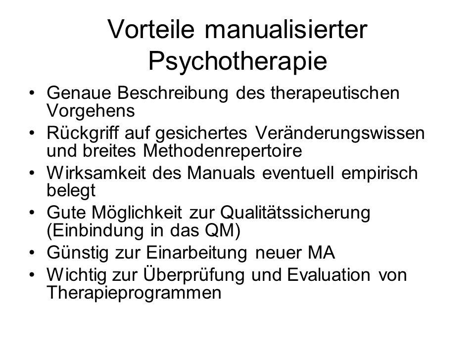 Vorteile manualisierter Psychotherapie Genaue Beschreibung des therapeutischen Vorgehens Rückgriff auf gesichertes Veränderungswissen und breites Meth