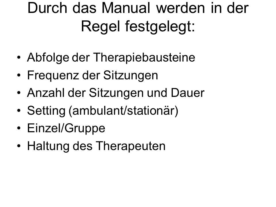 Durch das Manual werden in der Regel festgelegt: Abfolge der Therapiebausteine Frequenz der Sitzungen Anzahl der Sitzungen und Dauer Setting (ambulant