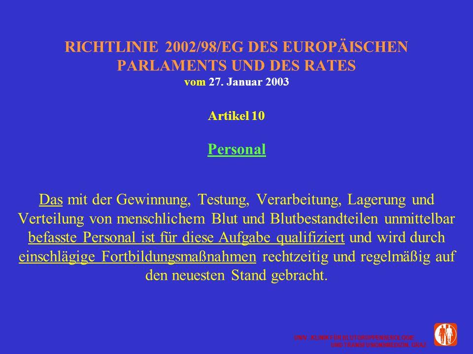 UNIV.-KLINIK FÜR BLUTGRUPPENSEROLOGIE UND TRANSFUSIONSMEDIZIN, GRAZ UNIV.-KLINIK FÜR BLUTGRUPPENSEROLOGIE UND TRANSFUSIONSMEDIZIN, GRAZ RICHTLINIE 2002/98/EG DES EUROPÄISCHEN PARLAMENTS UND DES RATES vom 27.