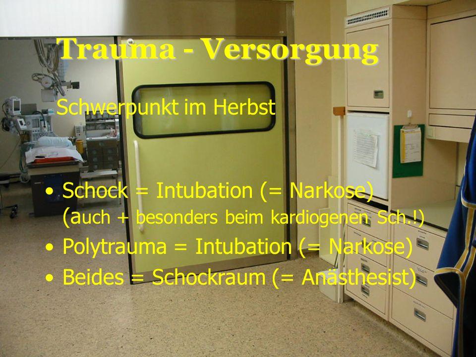 Christophorus 1620. Mai 2006 Trauma - Versorgung Schwerpunkt im Herbst Schock = Intubation (= Narkose) (a uch + besonders beim kardiogenen Sch.!) Poly